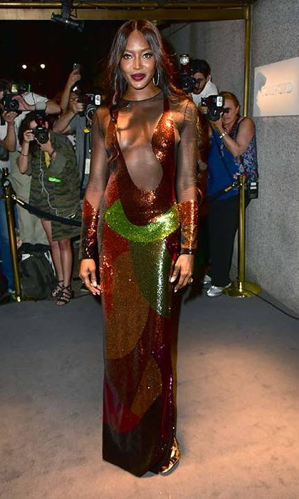 A sequinned dress with sheer panelling ensured all eyes were on Naomi Campbell.