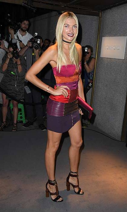 Jessica Hart turned heads in a patchwork bandeau mini dress.
