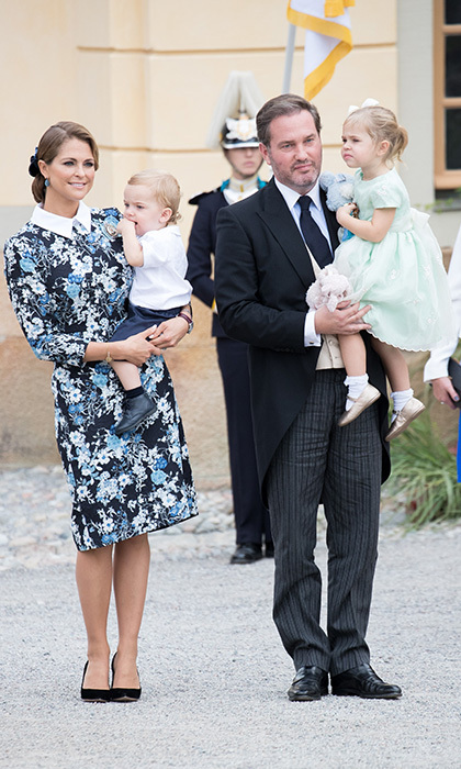 Princess Madeleine and husband Chris O´Neill arrived to the service with their children, Princess Leonore and Prince Nicolas.