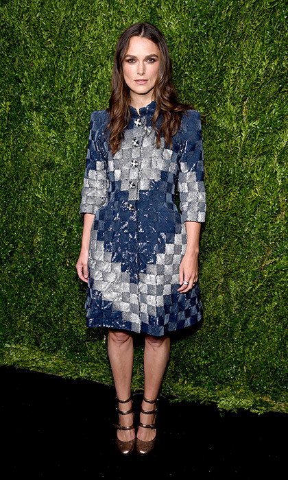 Keira Knightley donned a patchwork denim and metallic dress by Chanel, which she anchored with gold Mary Jane pumps at Chanel's Fine Jewelry dinner at Bergdorf Goodman in New York.