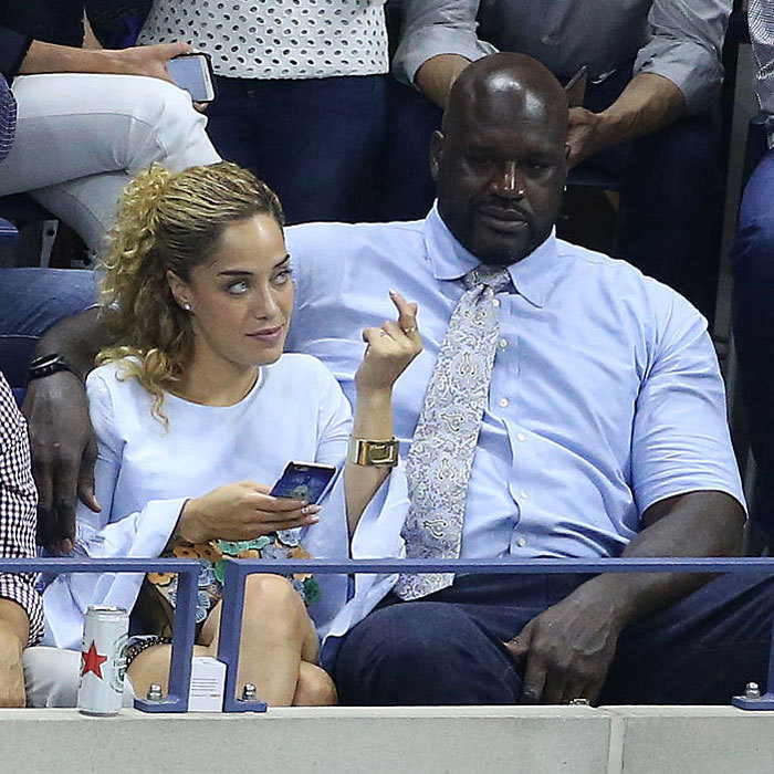 Shaquille O'Neal and girlfriend Laticia Rolle looked cozy on day 9 at the USTA Billie Jean King National Tennis Center. 