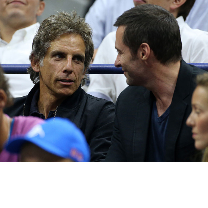 Derek Zoolander meets the Wolverine! Ben Stiller and Hugh Jackman attended the quarter final match between Novak Djokovic and Jo-Wilfried Tsonga on day 9 of the US Open.