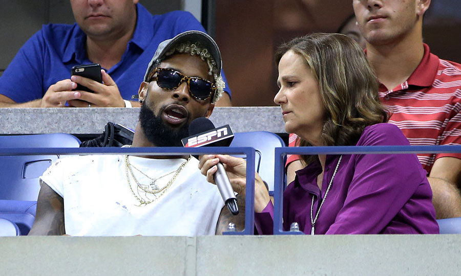 Odell Beckham Jr. took a time-out from the tennis game to chat with ESPN's Pam Shriver.