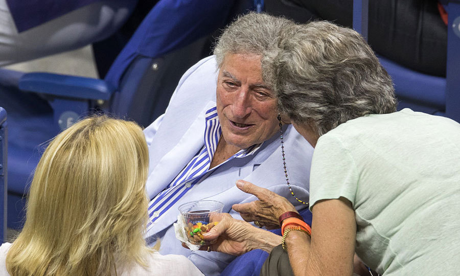 Singer Tony Bennett chatted courtside at the USTA Billie Jean King National Tennis Center in Queens.