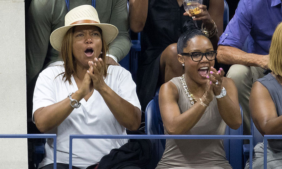 Queen Latifah and Ebony Nicholas excitedly cheered during the US Open.