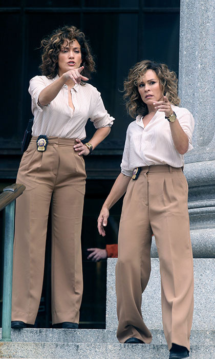 Jenny from the block times two! <i>Shades of Blue</i> star Jennifer Lopez shared notes with her stunt double while filming the crime drama in the streets of New York. 