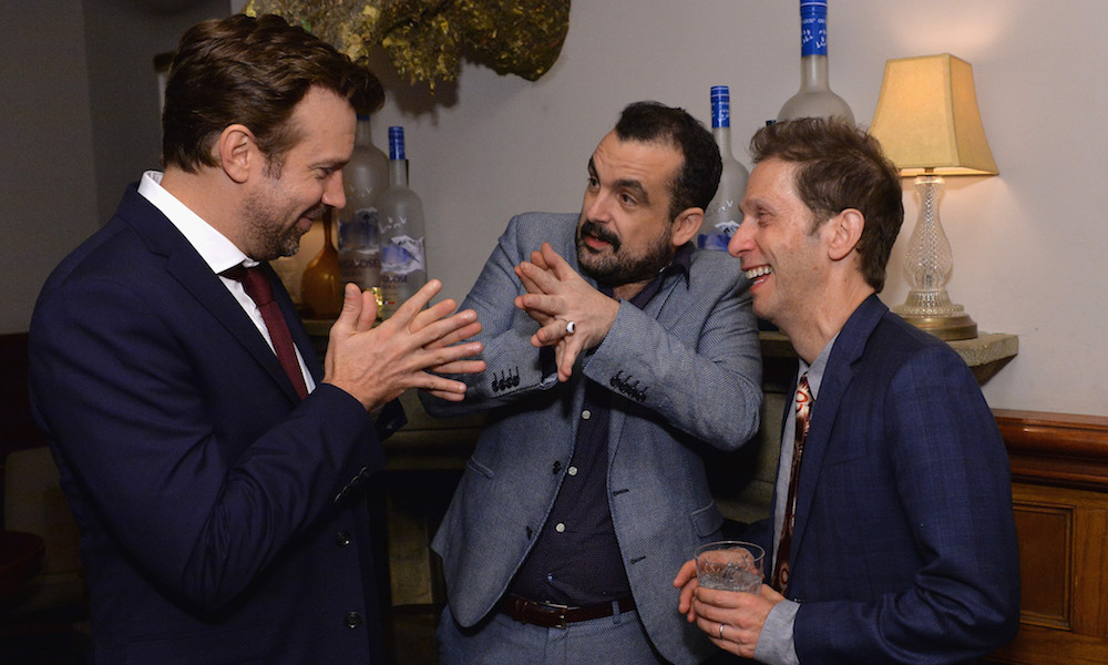 Jason Sudeikis joked around with co-star Tim Blake Nelson and Nacho Vigalondo at Grey Goose Soho House following the <em>Colossal</em> premiere.