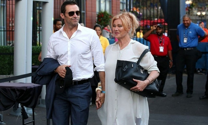 Hugh Jackman and wife Deborra-Lee Furness returned to the US Open for the men's semifinals.