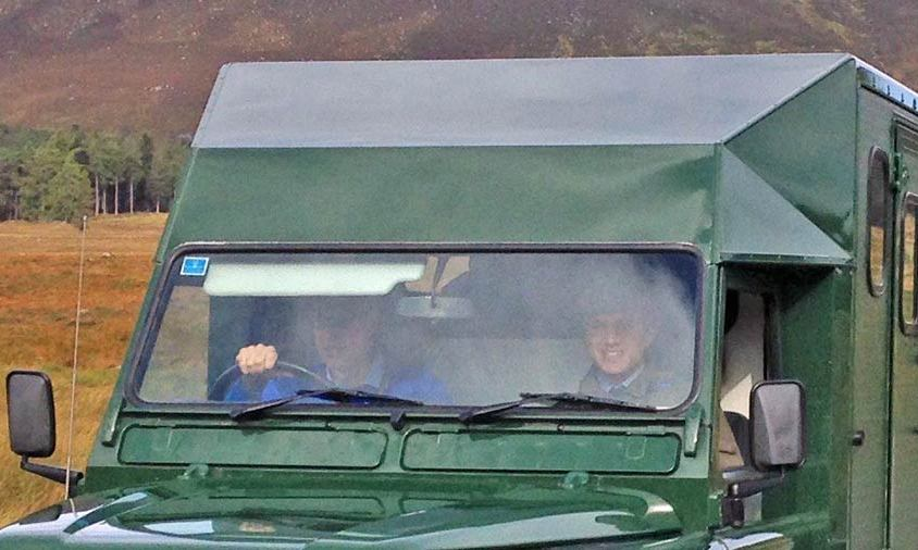 Prince William was spotted driving to the grouse shoot. 