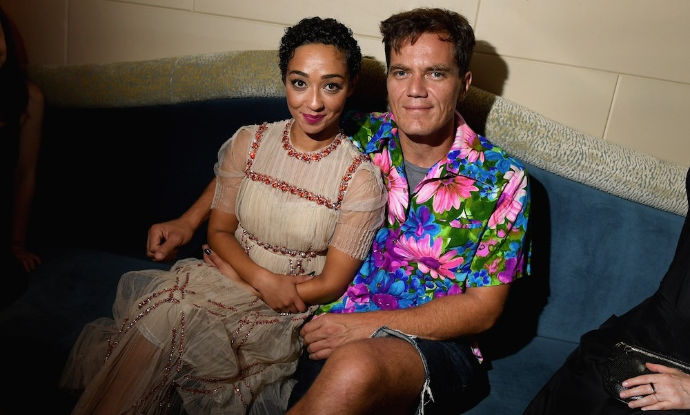 Michael Shannon, clad in a Hawaiian shirt and jean shorts, cozied up to his <em>Loving</em> co-star Ruth Negga.