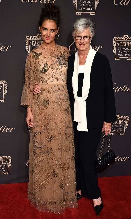 Katie Holmes brought her mum Kathleen along as her date to the Cartier Fifth Avenue Grand reopening event at the Cartier Mansion in New York City on Wednesday night. 