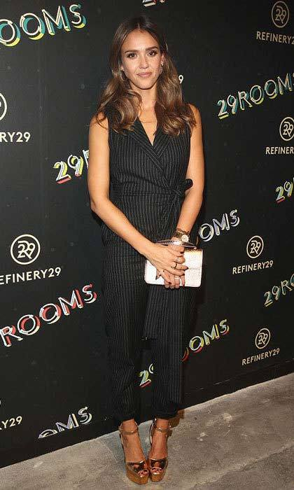 Jessica Alba looked stylish in a pin striped jumpsuit at Refinery29's second New York Fashion Week Event, '29Rooms.'
