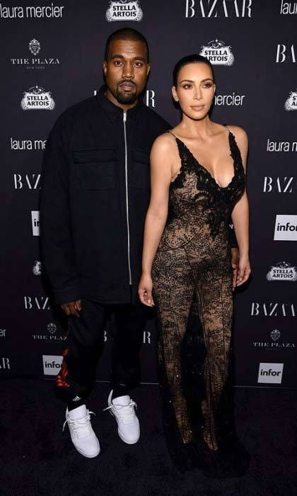 Icons! Kim Kardashian, in Givenchy, and Kanye West posed on the carpet before the <em>Fade</em> singer performed for guests at the Harper's BAZAAR ICONS by Carine Roitfeld party at the Plaza Hotel.