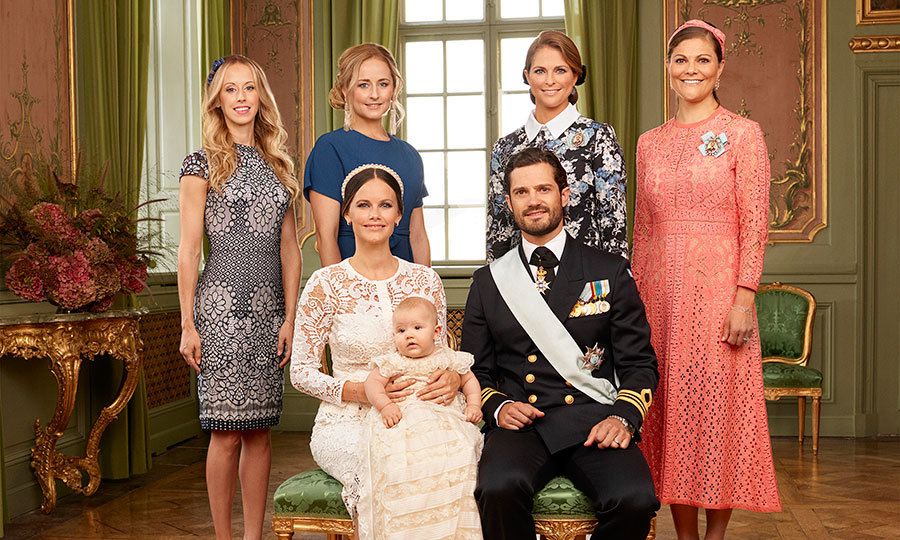 The couple with their siblings, including Princess Madeleine and Princess Victoria (right).