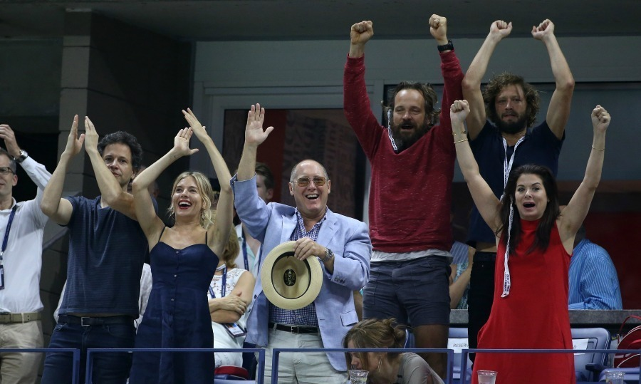 And the crowd goes wild! Bennett Miller and Sienna Miller, James Spader, Debra Messing and Peter Sarsgaard let out a big cheer during the men's final.