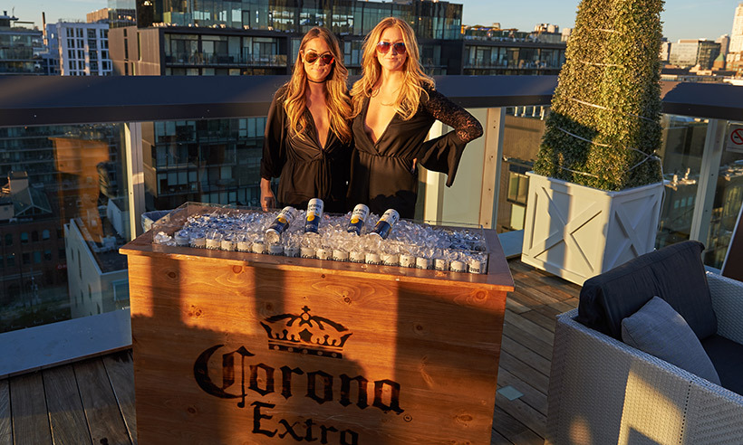 Corona was serving up ice-cold brews on the roof.