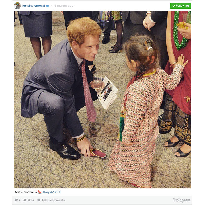 """A little Cinderella"" met her Prince Charming in May 2015, as Britain's Prince Harry slid her shoe back on to her foot. The young New Zealander had the royal bending down to help her with her shoe which had fallen off. 