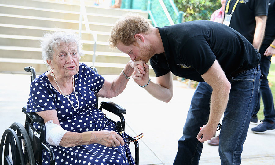 Ever the gentleman, Prince Harry knows how to make ladies swoon, young and old. On the last day of the Invictus Games in 2016, the royal met 95-year-old Ruth Uffleman and delighted her with a sweet kiss on her hand.