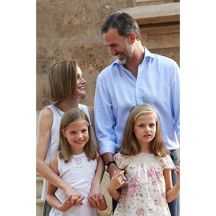The queen with her husband King Felipe and the couple's two daughters, Princesses Sofia and Leonor.