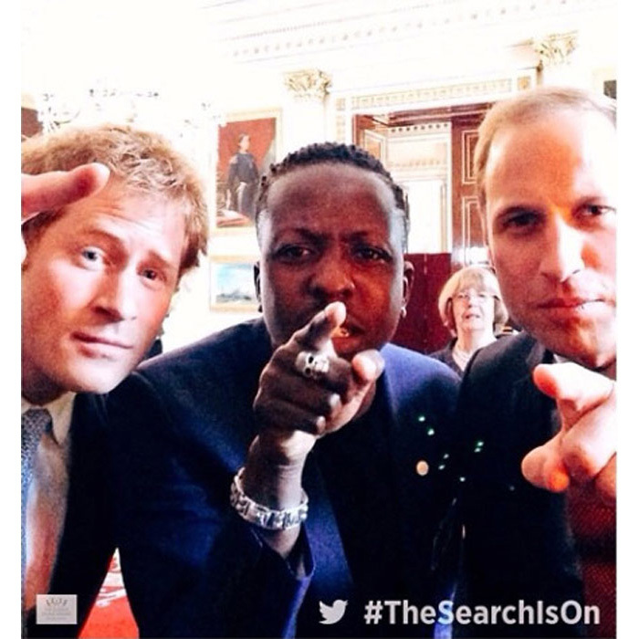 Princes Harry and William pose for a selfie with Jamal Edwards at Buckingham Palace, in the first ever social hub as part of The Queen's Young Leaders in July 2014.