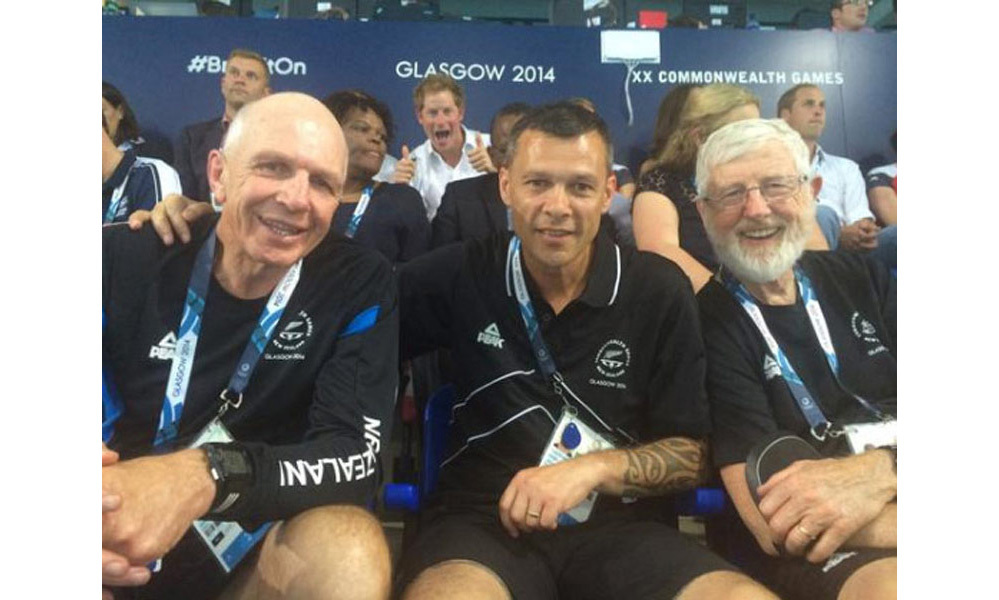 <p>The Prince photobombs New Zealand officials at the Commonwealth Games in Glasgow, summer 2014, giving two thumbs up and grinning widely behind the unsuspecting men.
