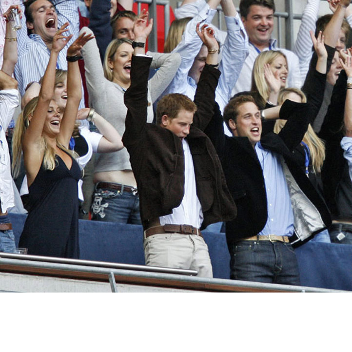 Prince Harry let his hair down and enthusiastically took part in a Mexican wave, alongside his brother Prince William and Harry's then girlfriend Chelsy Davy at the Concert for Diana, 2007.