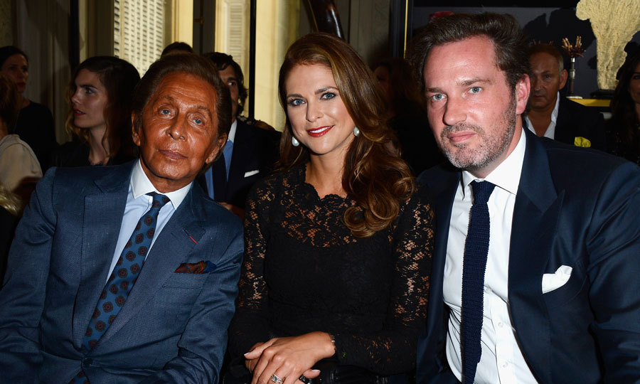 Less than a month after wearing a Valentino dress for her 2013 nuptials to Christopher O'Neill, Princess Madeleine of Sweden and her husband (right) attended Valentino Garavani's show during Paris Fashion Week Haute-Couture Fall/Winter 2013-2014.