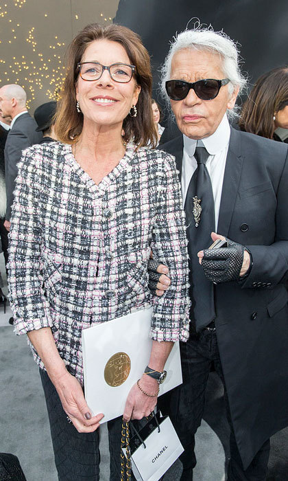 Princess Caroline of Hanover posed alongside designer Karl Lagerfeld at the Grand Palais for the Chanel Fall/Winter 2013 ready-to-wear show during Paris Fashion Week.