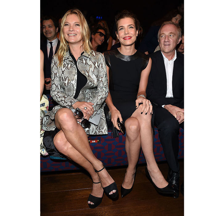 Front row beauties. Charlotte Casiraghi took in the Gucci show at Milan Fashion Week Womenswear Spring/Summer 2015 alongside supermodel Kate Moss.