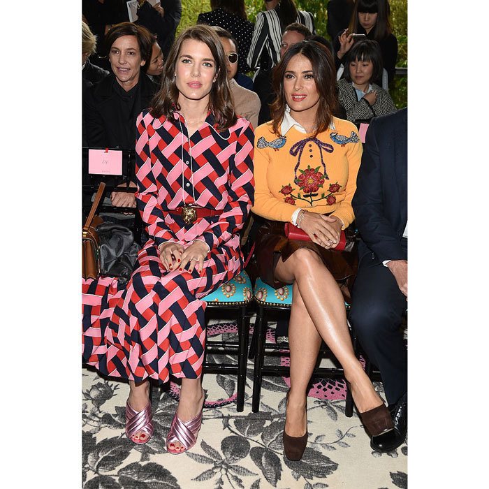 Charlotte Casiraghi and actress Salma Hayek added a pop of color to the front row of Milan Fashion Week's Gucci Spring/Summer 2016 show.