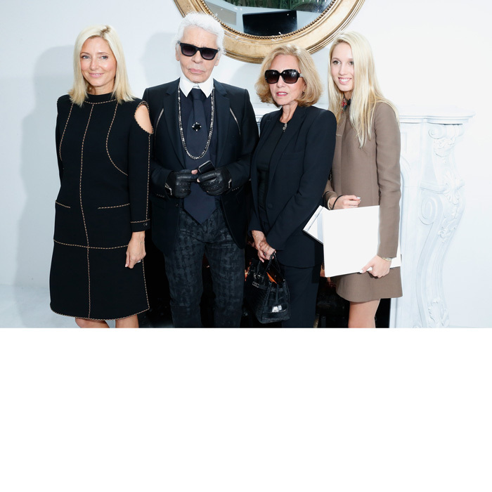 Princess Marie-Chantal was joined by her mother María and daughter Olympia for a photo with designer Karl Lagerfeld at the Chanel show during Paris Fashion Week - Haute Couture Fall/Winter 2014-2015.