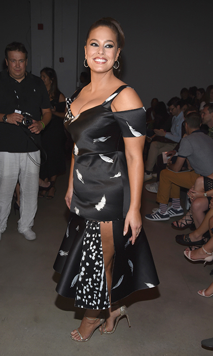 Model Ashley Graham rocked a cut-out Prabal Gurung gown with polka-print detail to attend the designer's Spring 2017 show at New York Fashion Week. <p>Photo: © Getty Images</p>