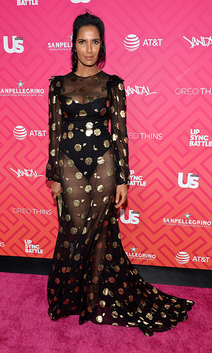 Padma Lakshmi set the gold standard in a black bodysuit and sheer, metallic-stamped overlay gown by Monique Lhuillier at Us Weekly's Most Stylish New Yorkers 2016 party. <p>Photo: © Getty Images</p>