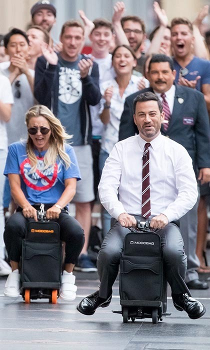 And they're off! <i>The Big Bang Theory</i>'s Kaley Cuoco raced Jimmy Kimmel on the streets of Hollywood during a taping of <i>Jimmy Kimmel Live</i>.