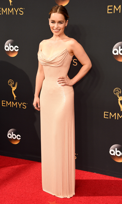 Emilia Clarke in Versace. 