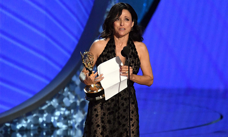 It was a bittersweet night for Julia Louis-Dreyfus. The <em>Veep</em> star took home her seventh Emmy Award while mourning the death of her beloved father William, who passed away on Friday. 
