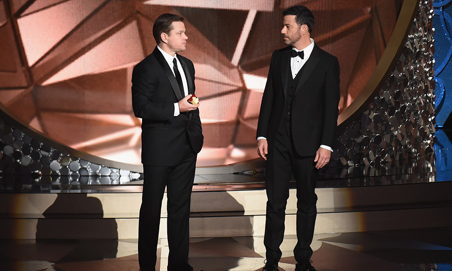 "Matt Damon's faux-feud with Jimmy Kimmel continues! The actor appeared on stage moments after Jimmy lost out on the Outstanding Variety Series prize, and couldn't help but rub it in. ""You probably just want to go home and curl up and cry,"" he told the host. ""You're a pretty big loser…""