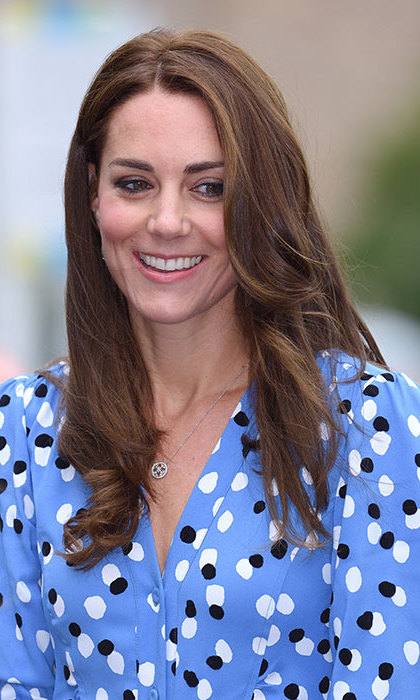 Kate looked summery in a blue patterned dress by Altuzarra.