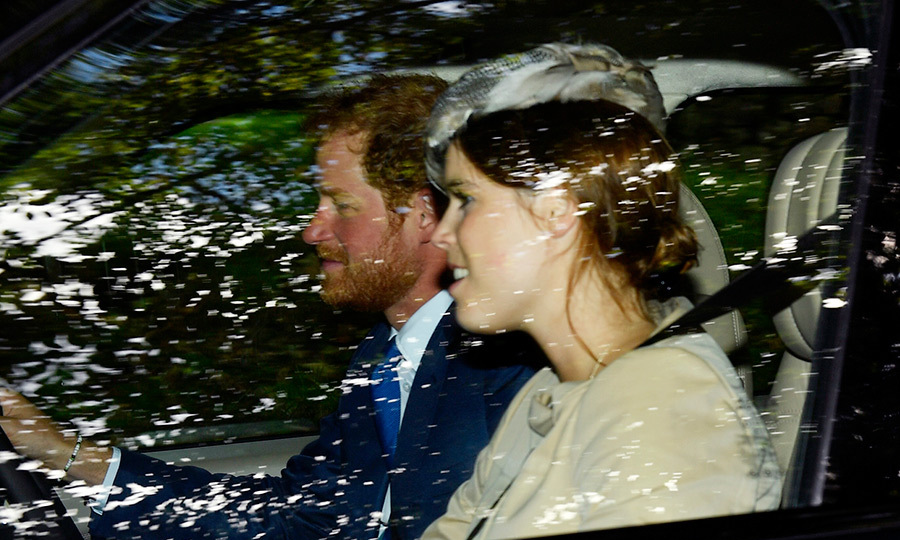 Harry and his cousin Princess Eugenie were spotted driving to church on Sunday.