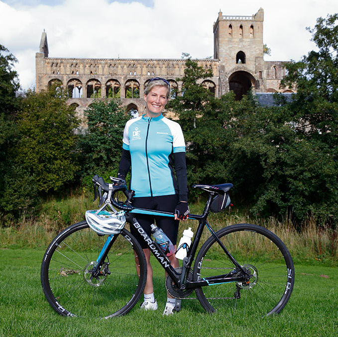 Sophie is cycling an impressive 445 miles from the Palace of Holyroodhouse in Edinburgh to Buckingham Palace in London this week.