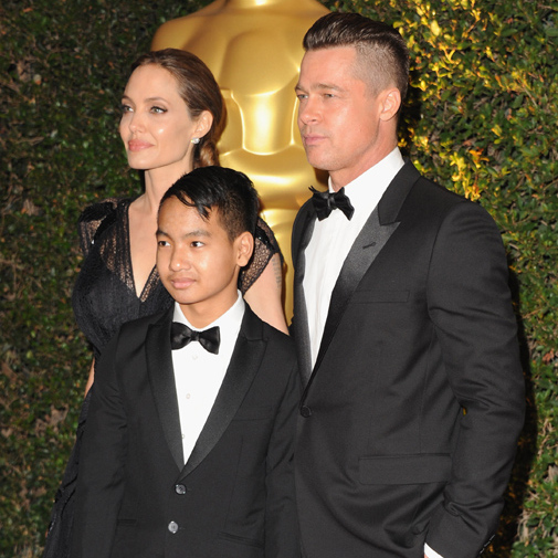 Angelina to Brad on receiving an award from the Oscars Academy for her humanitarian work: