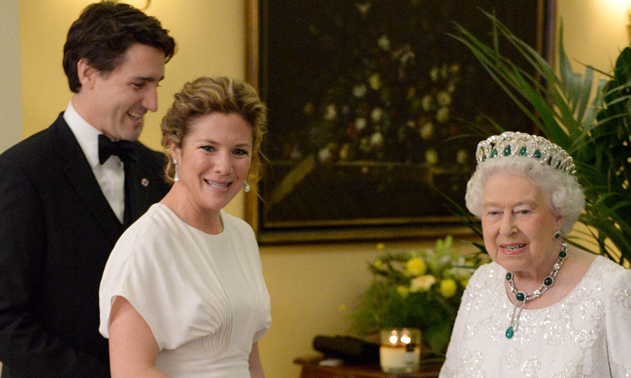 The Canadian beauty pulled out all the stops as she and Justin met the Queen, with her hair swept back into an elegant chignon with waves at the roots for a hint of volume.