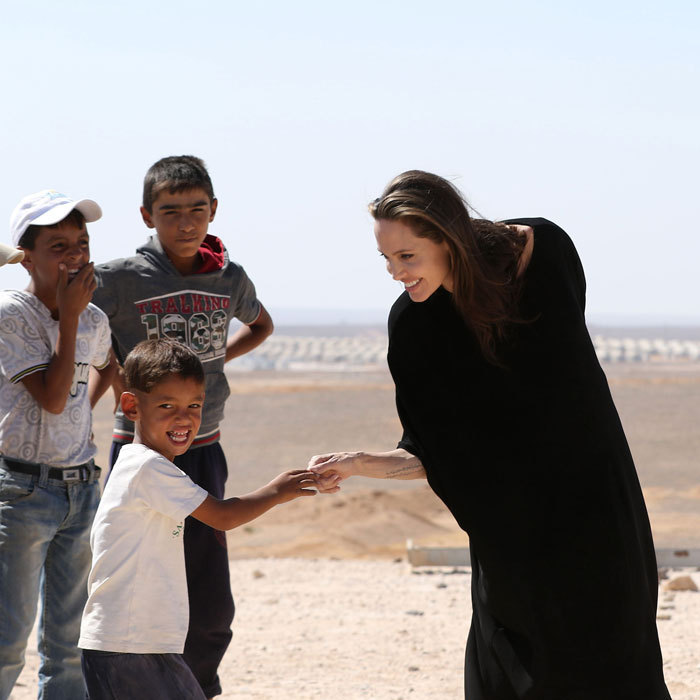 <p>The UN Special Envoy returned to the Syrian refugee camps in Jordan on Sept. 10, chatting with children during her visit. The actress held a press conference at the Al- Azraq camp speaking out for the displaced children.