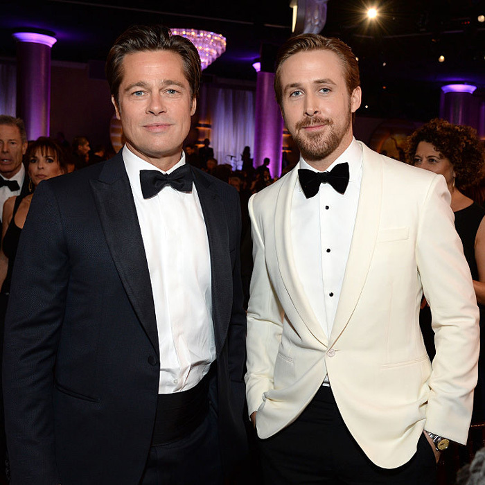 The actor attended the 73rd Annual Golden Globe Awards without Angelina, where he presented footage from his film <em>The Big Short</em> alongside his equally dapper co-star Ryan Gosling.