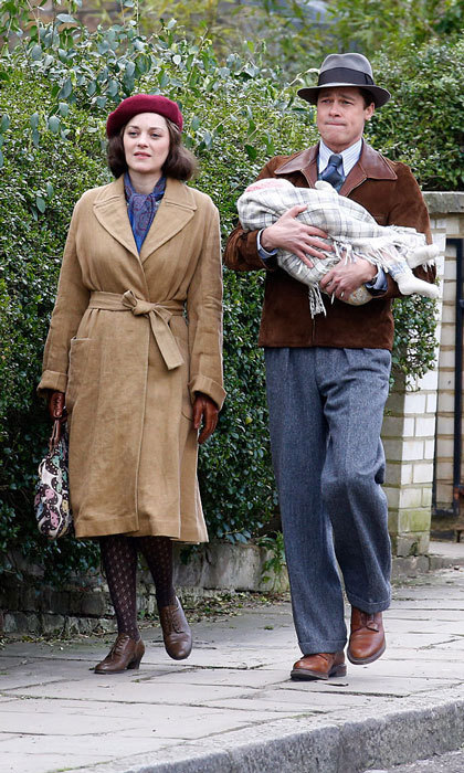 The handsome dad of six was snapped in March filming scenes with his on-screen wife, Marion Cotillard in Hampstead, London for the romantic drama <em>Allied</em>.