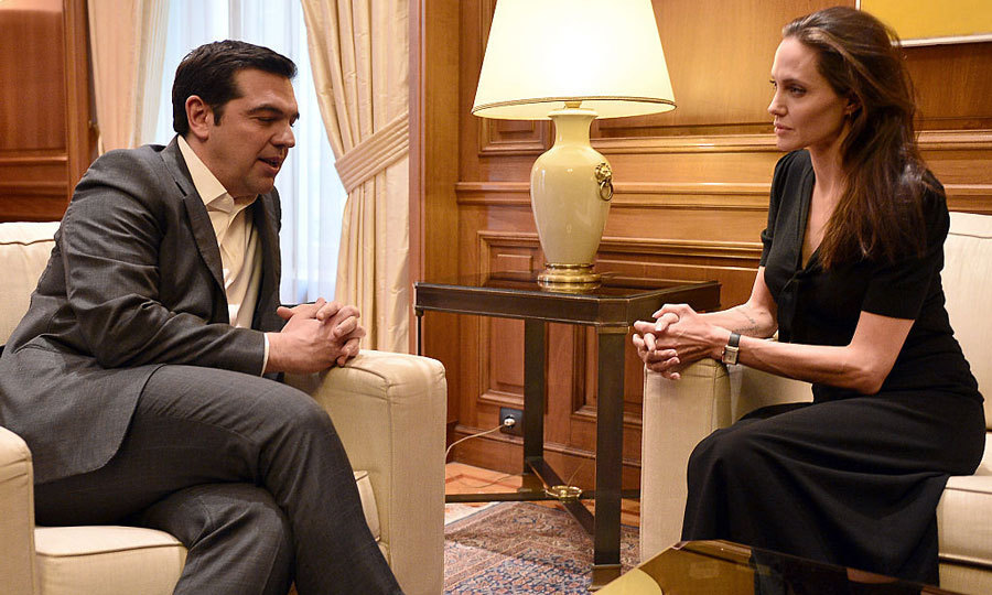 In March, the actress met with Greek Prime Minister Alexis Tsipras as part of her visit to the refugee reception in Athens, Greece.