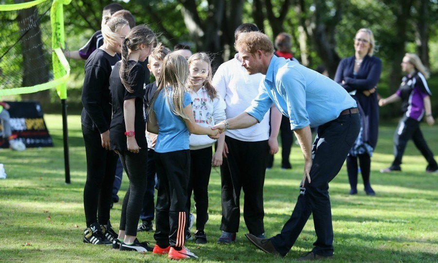And he certainly made a big impression on one group of young girls, who were clearly excited to meet the Prince. 