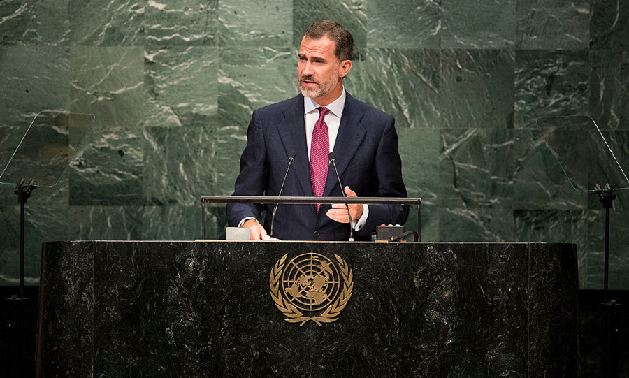 King Felipe VI of Spain addressed the United Nations General Assembly at the UN headquarters in New York City on Sept. 20, stressing his country's respect for the UN Charter.