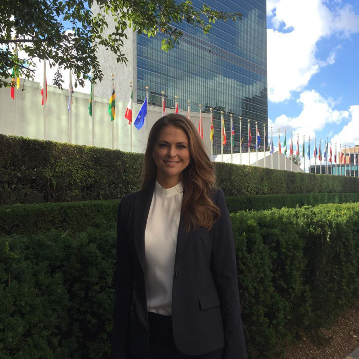 "Princess Madeleine was dressed to the nines for her day at the United Nations. The Swedish royal stepped out to attend a high-level meeting on""Solutions to Achieve the Sustainable Development Goals for Children."" The mom of two noted, ""This meeting aims to illustrate the power of working TOGETHER to address the needs of children and ending violence against children.""