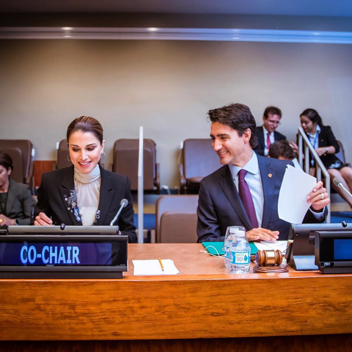 "Queen Rania joined Canada's Prime Minister Justin Trudeau at the UN Summit for Refugees and Migrants. The monarch shared a candid photo, writing, ""This crisis is not just about refugees, nor will the solution simply be for refugees. This crisis is about the future of our interconnected world and about human dignity and decency.""